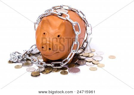 Piggy-bank Locks, Chained And Locked