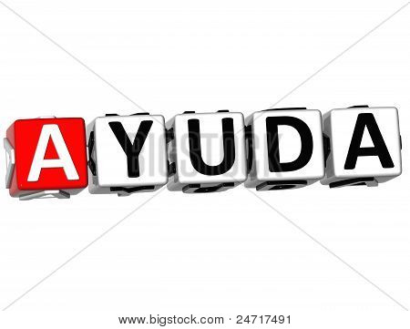 3D Ayuda Block Text On White Background