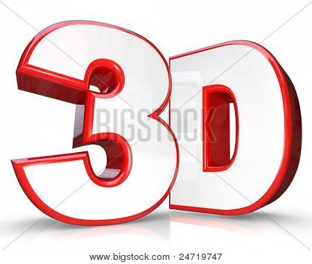 The abbreviation 3D in three dimensional letter and number on a white background representing new technology for viewing movies and television programming that comes out of the screen at you