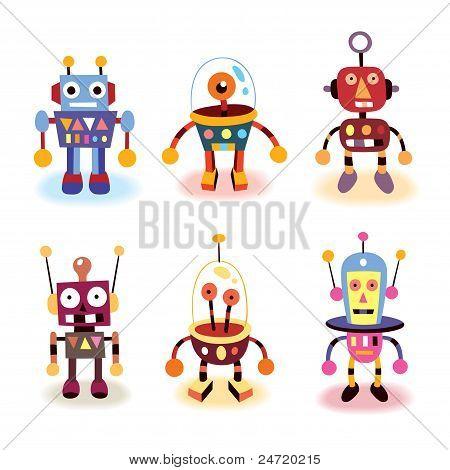 conjunto de robots de dibujos animados