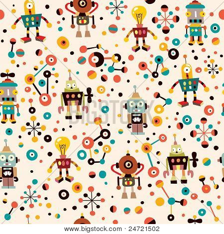 cute robots seamless pattern