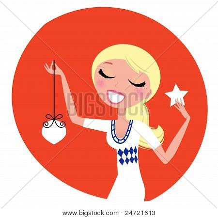 Cute Retro Christmas Woman With Decoration Isolated On Red.