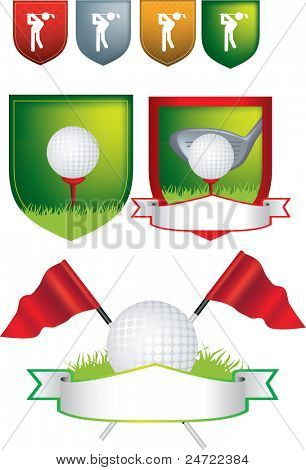 Illustration of golf icons, shields and emblems on a white background uses gradient mesh