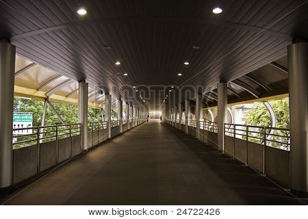 The walkway of the skytrain station