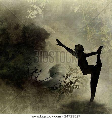 Yoga Art Background On Canvas