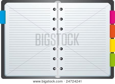 Spiral notebook with tags and labels with color color