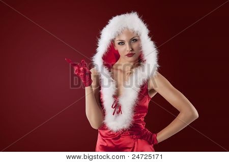 Sexy Christmas Girl In Red