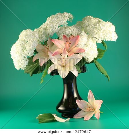 Flowers Of A Pink Lily And  White Hydrangea  In A Vase.