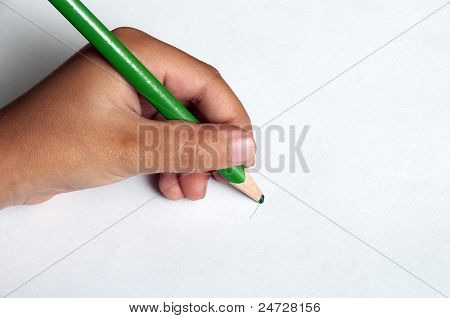 Child Left-handed Writing