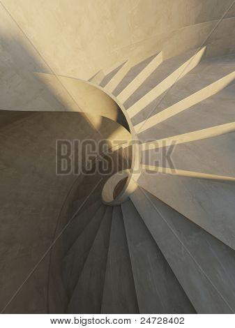 Interior abstrata com escada em espiral