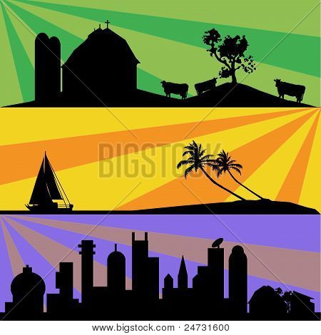 Three different landscapes, colored background