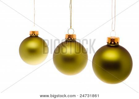 Pastel Green Gold Christmas Balls Hanging Isolated