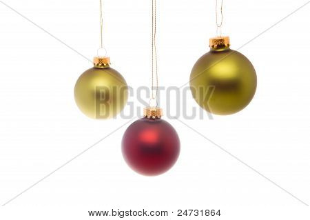 Green Red Christmas Ball Isolated White Background