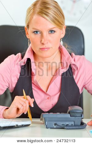 Portrait Of Modern Business Woman Waiting Phone Call