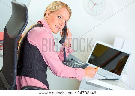 Smiling Modern Business Woman Talking Phone