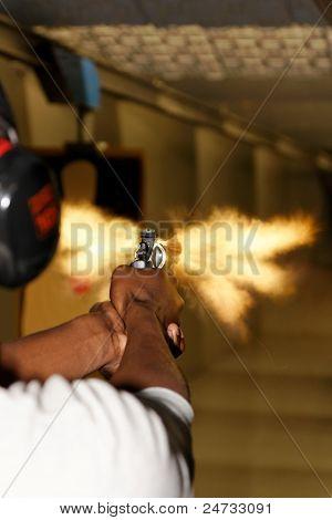 Revolver Gun Fired With Muzzle Flash