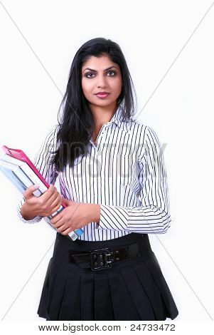 Serious Girl With Documents