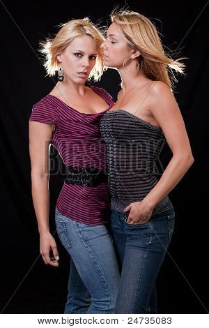 Two Attractive Blond Caucasian Women
