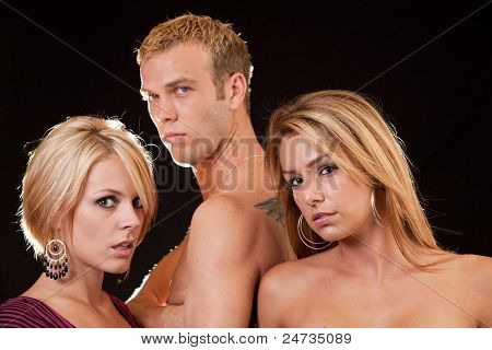 Three Attractive Blond Caucasian Man And Women