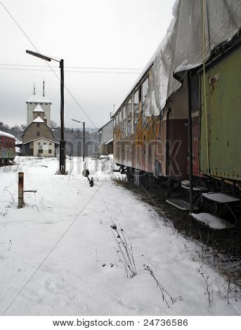 Old Railway Cars And Station