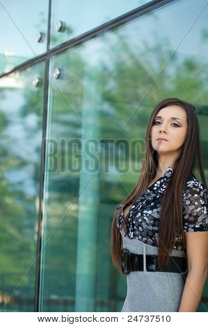 brunette woman looking at camera
