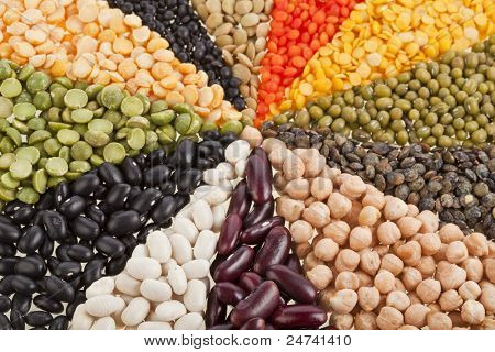 Mix from different beans, legumes, peas, lentils