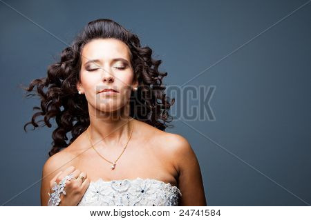 Attractive Bride With Long Curly Hair