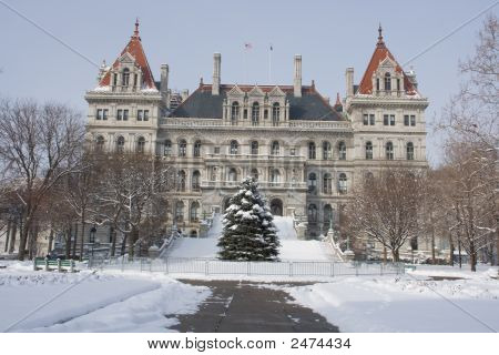 New York State Capitol Building In The Snow