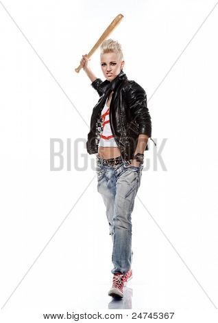 Punk girl in leather jacket with a baseball bat