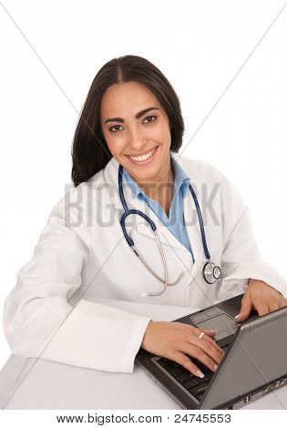 Young Hispanic Doctor Working Laptop on Isolated White Background