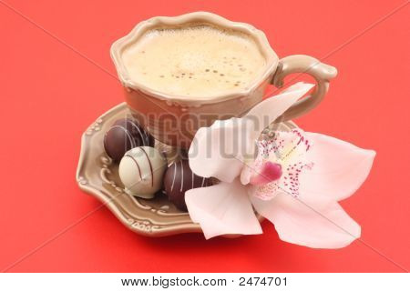 Pralines And Cup Of Coffee