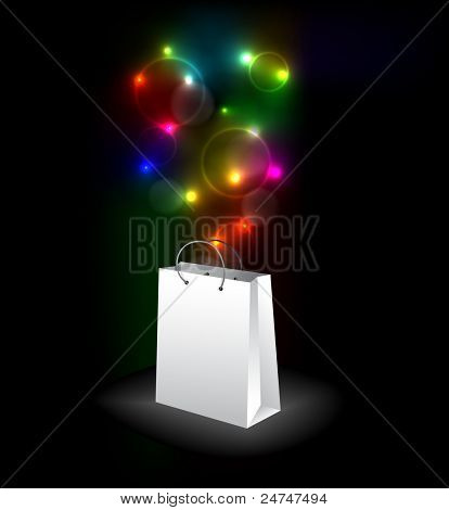 Vector shopping bag with a surprise - colorful lights