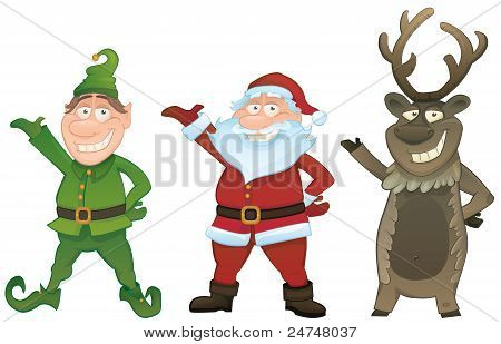 Vector Set With Santa, Elf And