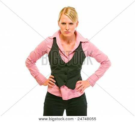 Angry Business Woman With Hands Of Hips