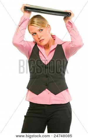 Modern Business Woman Holding Briefcase Above Head