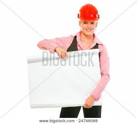 Modern Architect Woman Holding Blank Flip Chart