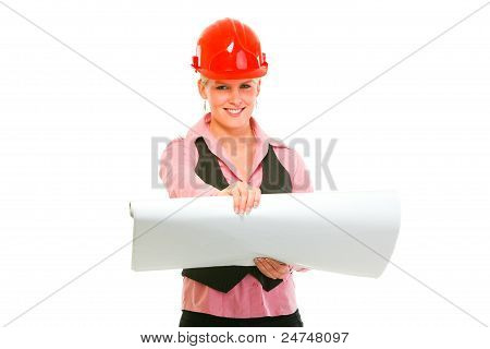 Smiling Modern Architect Woman With Open Flip Chart