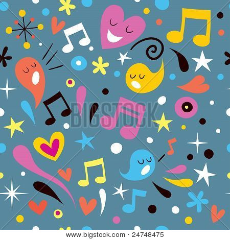 fun music seamless pattern
