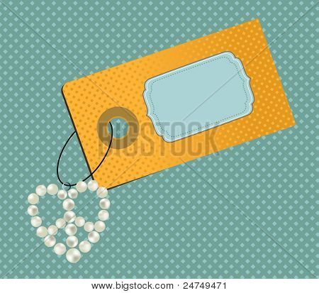 Fun tag - decorated with dangling fob of pearls in peace symbol - extra tag on separate layer
