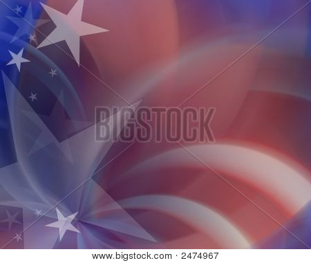 Red White Blue Spiral Background With Stars