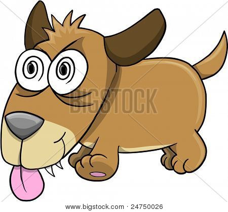 Crazy Insane Puppy Dog Vector Art Illustration