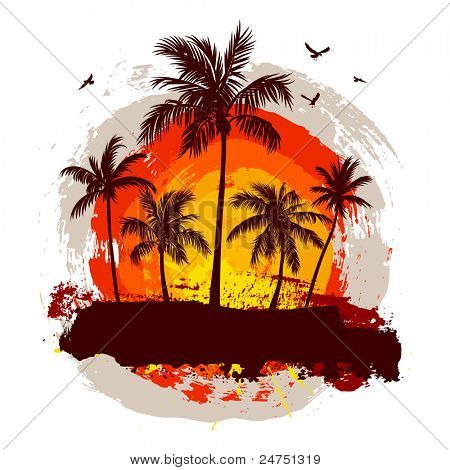 Tropical sunset. Rasterized version.