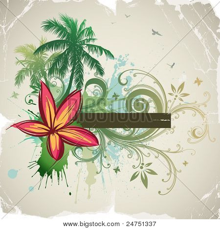 Palms, tropical flowers, frame for text. Rasterized version.