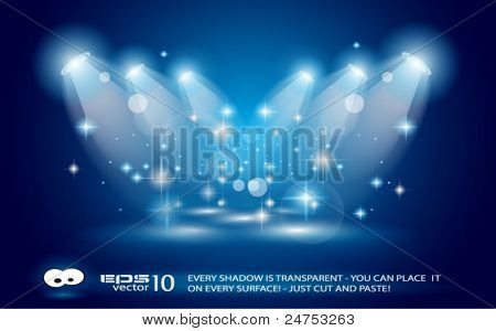 Magic Spotlights with Blue rays and glowing effect for people or product advertising. Every lights and shadows are transparent.