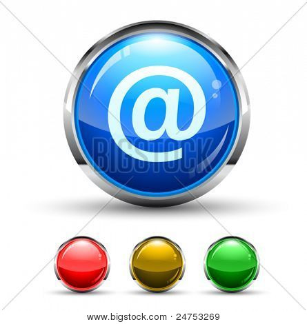 Email Cristal Glossy Button with light reflection and Cromed ring. 4 Colours included.