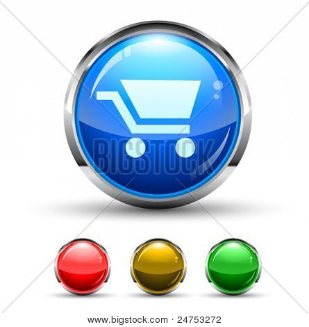 Shopping Cart Cristal Glossy Button with light reflection and Cromed ring. 4 Colours included.