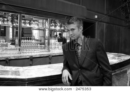 Man At Bar Counter