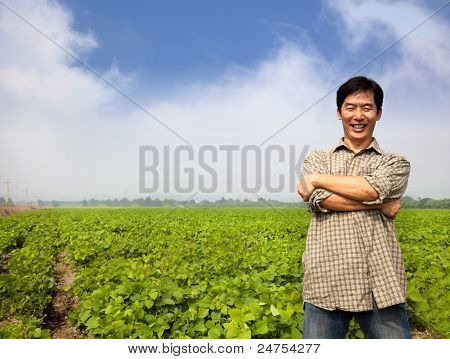 success asian middle aged farmer