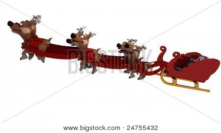 Robot with sleigh and reindeer