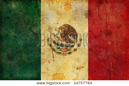 Old, Aged And Worn Grunge Flag Of Mexico